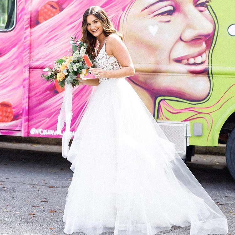 bride in front of food truck