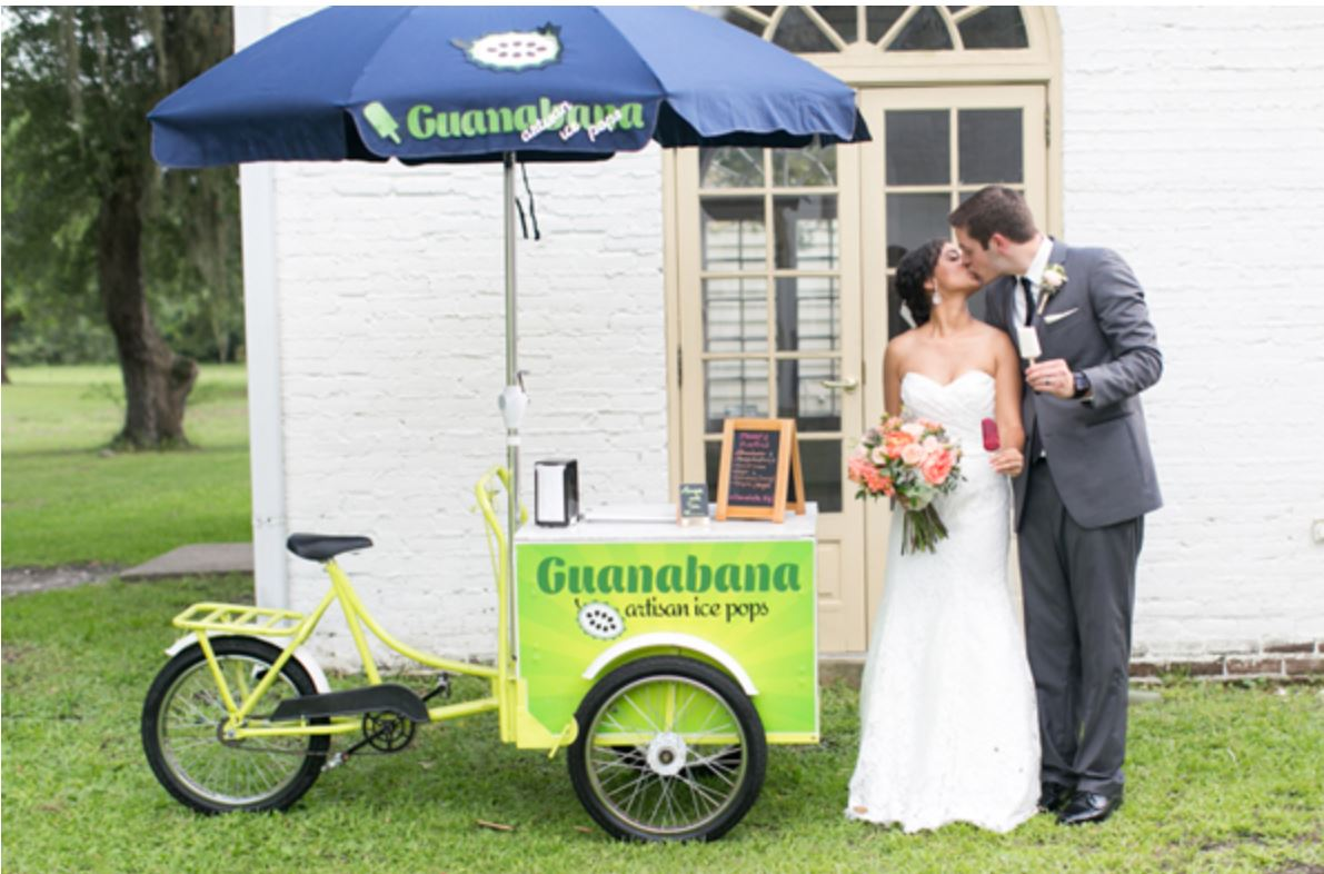 wedding couple next ice pops tricycle