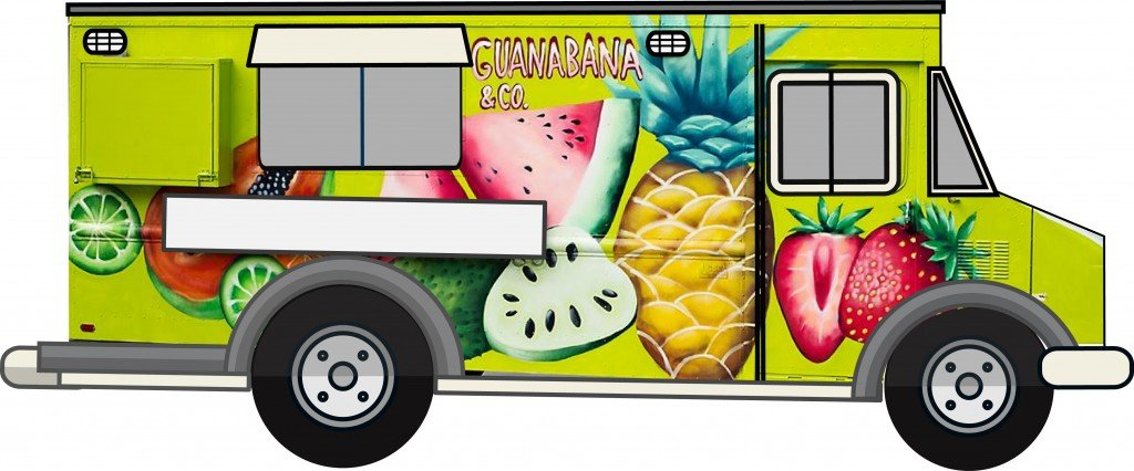 guanabana food truck colorful design