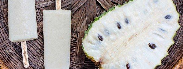 soursop cut in half with soursop ice pops